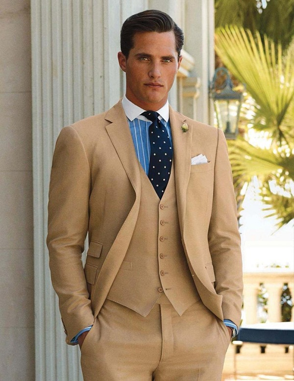 3-Piece-flat-front-cotton-suit-with-winchester-shirt-Polka-Dot-Tie