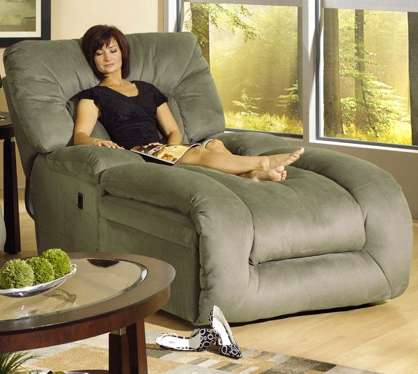 Jackpot Reclining Chaise In Sage Microfiber Fabric By