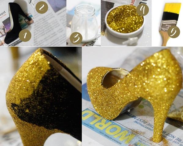 Glitter Glamorous Shoes Diy Alldaychic