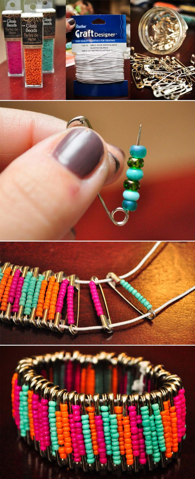 Lovely Bracelet Made from Safety Pins 1