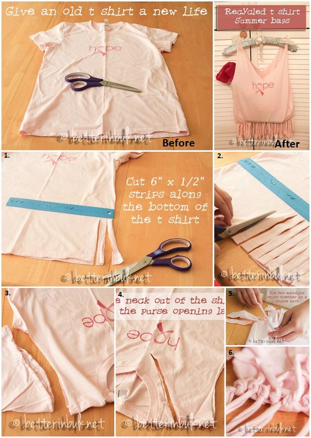 No Sew Diy T Shirt Bag Step By Step Tutorial Alldaychic
