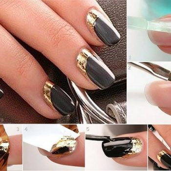 nails with gold leaf