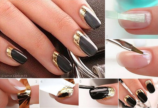 Get The Look The Moon Manicure With Gold Leaf Alldaychic
