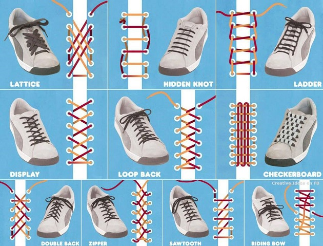 Creative ways to tie your shoe laces alldaychic - Creative ways to store your magazines ...