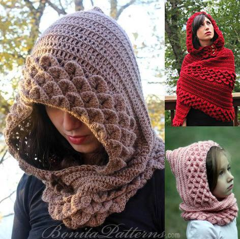 Crocodile Neckwarmer Cowl Stitch Hoods And Hooded Capes Alldaychic