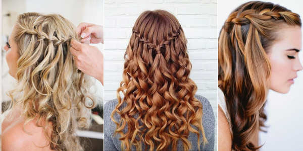 Curly Hair Waterfall Braid , AllDayChic