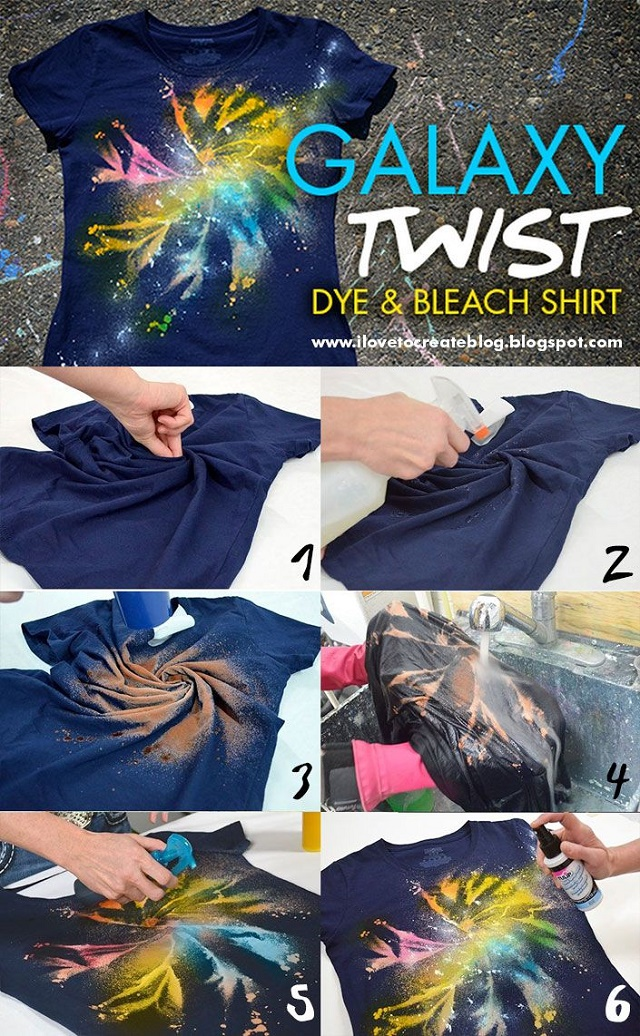 Galaxy Twist Dye + Bleach Shirt - DIY