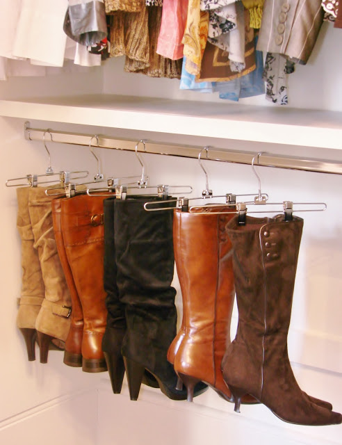 Organize Your Boots Using Clothing Hangers 1