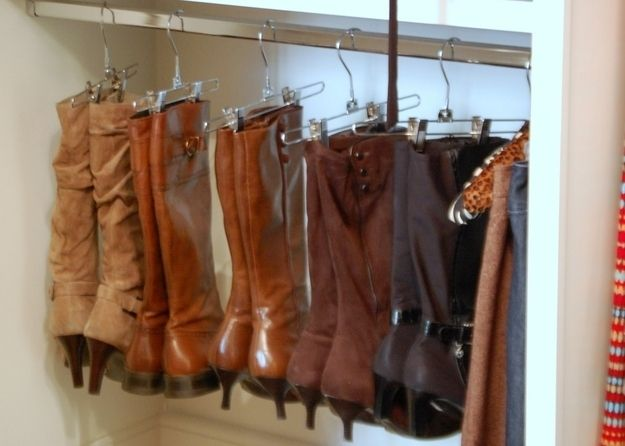 Organize Your Boots Using Clothing Hangers
