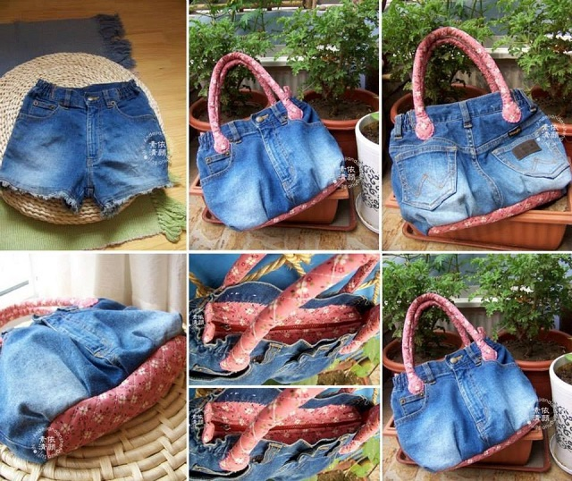 upcycling jeans into a handbag alldaychic. Black Bedroom Furniture Sets. Home Design Ideas
