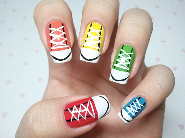 this sneakers nail art is the cutest thing ever alldaychic