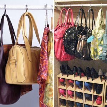 Use Shower Curtain Hooks to Organize the Purses