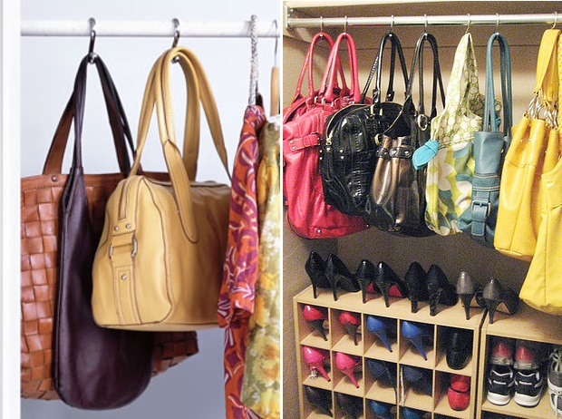 Use shower curtain hooks to organize the purses alldaychic Ideas for hanging backpacks
