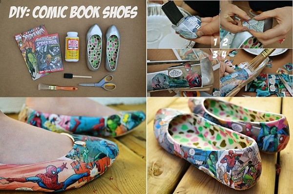 Comic book shoes diy alldaychic comic book shoestext solutioingenieria Choice Image