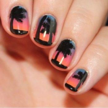 Beach Sunset Nail Design