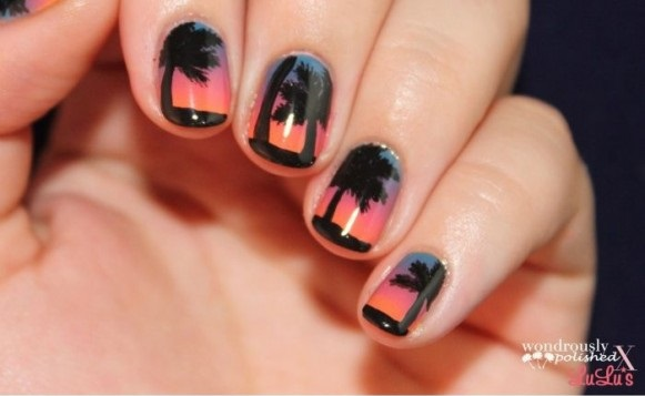 Beach Sunset Nail Design - Beach Sunset Nail Design - AllDayChic