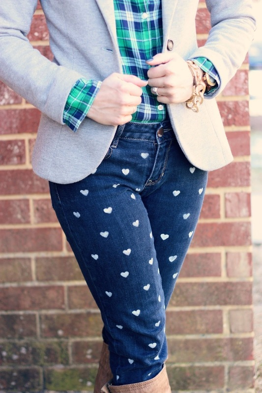 Heart Print Denim - DIY 5