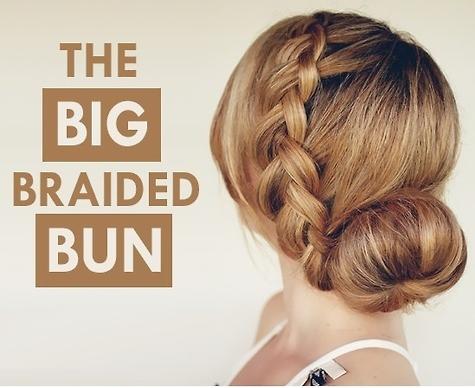 big braided bun, elegant hairstyle