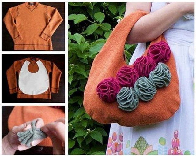 cute handbag from a sweater DIY