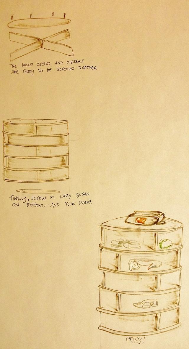 diy - lazy susan shoe case 3