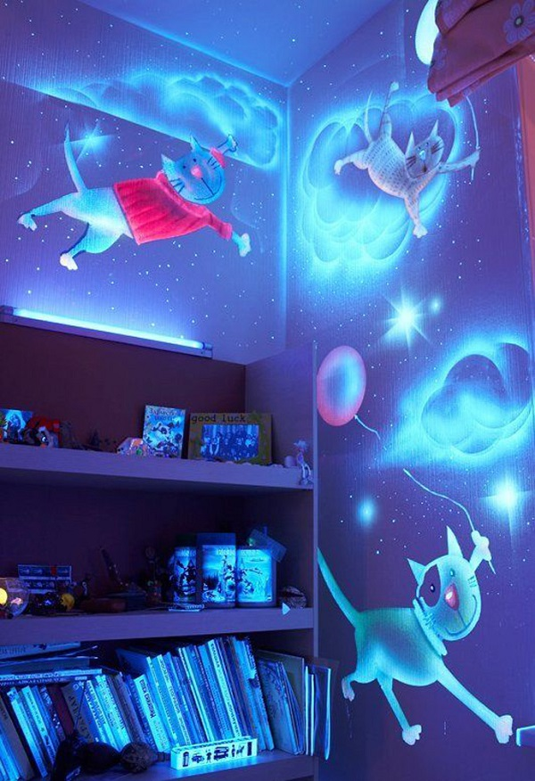 glow in the dark paint alldaychic. Black Bedroom Furniture Sets. Home Design Ideas