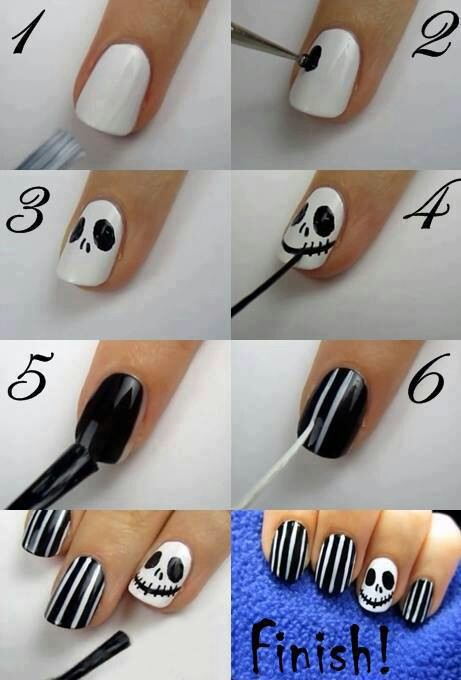 halloween nail art jack skellington 1 - Halloween Easy Nail Art