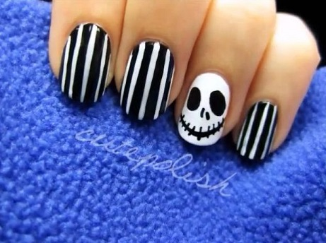 halloween Nail Art - Jack Skellington - Halloween Nail Art Design - AllDayChic