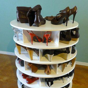 shoe storage idea lazy susan