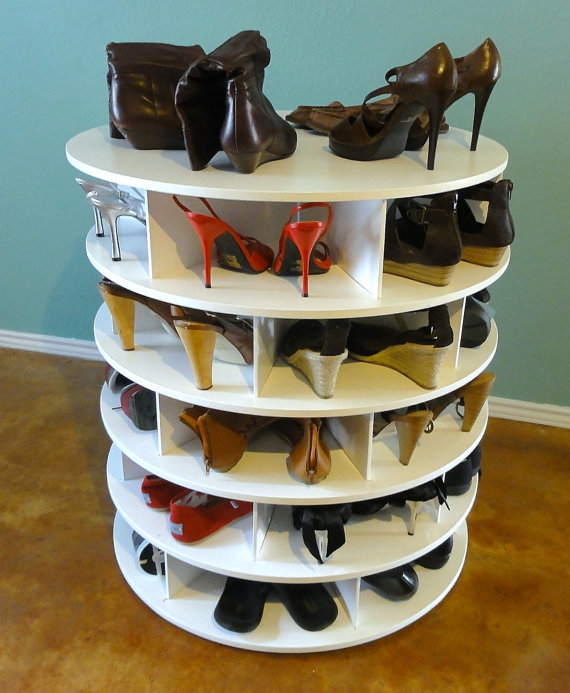 shoe storage idea lazy susan