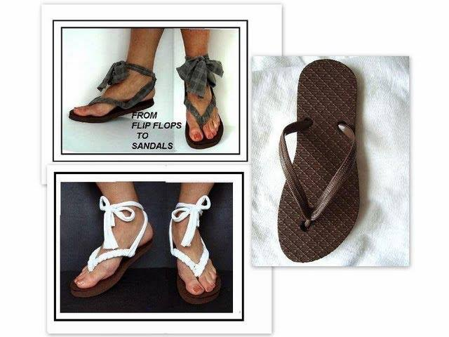 158e375f2 Turn Flip Flops into Sandals by Recycling a T-shirt - DIY - AllDayChic