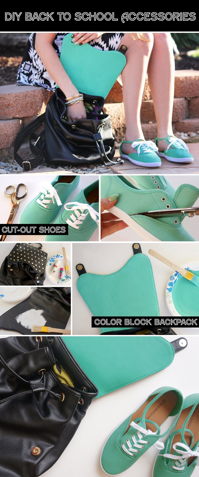 Cut out shoes and color block backpack