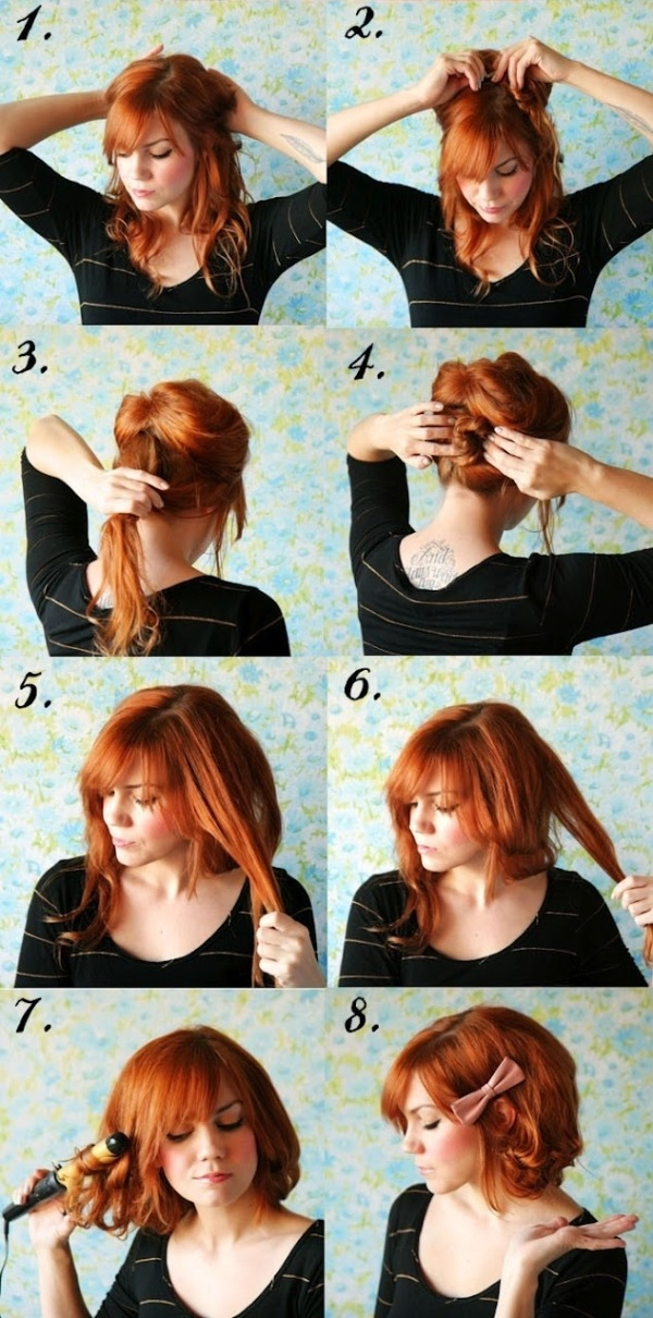Short Hair No Cutting Hairstyle DIY AllDayChic