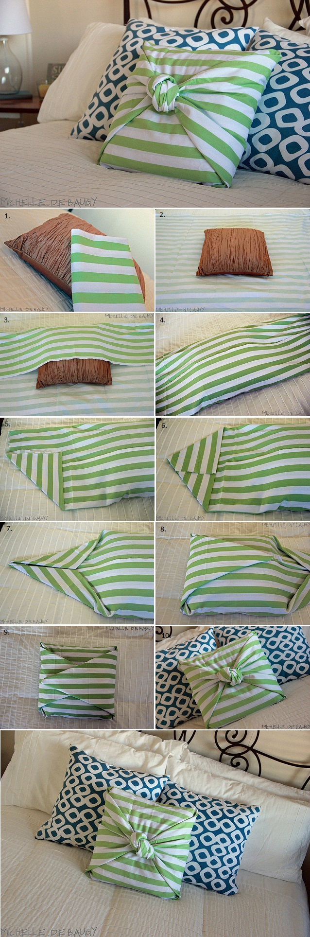 Diy Throw Pillow Cover No Sew : No Sew Pillow Case - DIY - AllDayChic