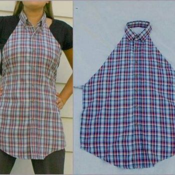 Old shirts into aprons!