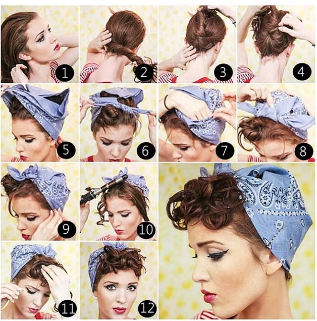 Pin-Up-Curls-With-Bandana-Vintage-Hairstyle