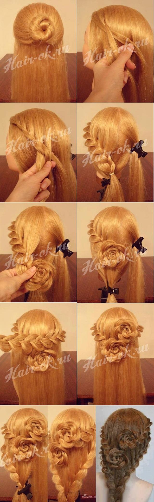 Rose Bud Flower Braid Hairstyle - Tutorial 1