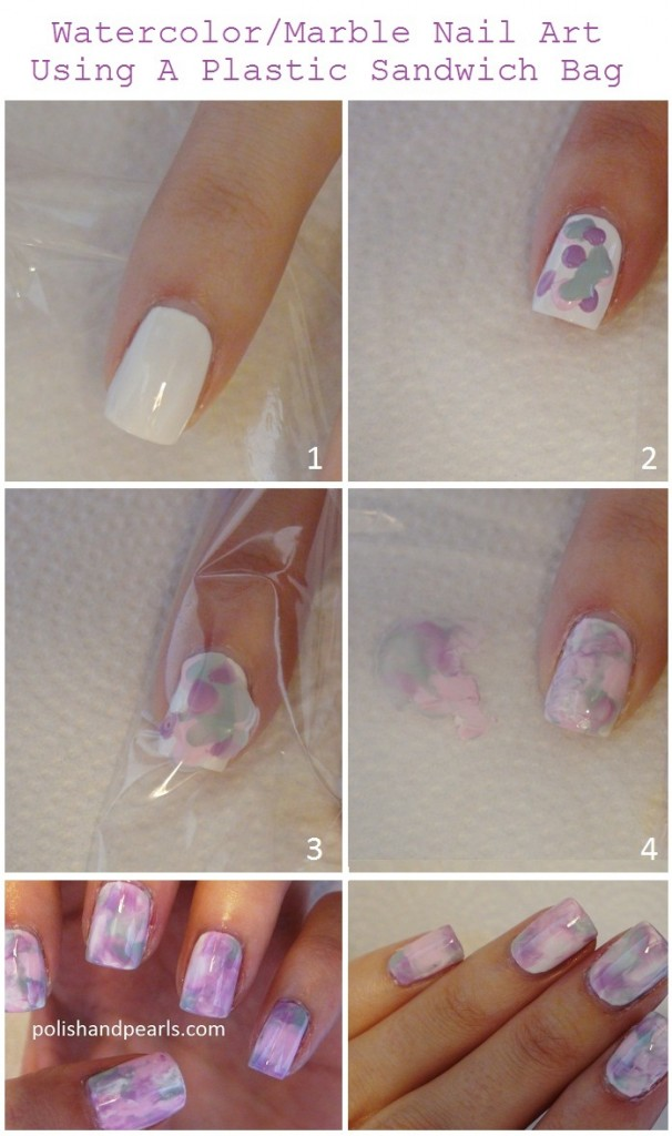 marble-nail-art-using-a-plastic-sandwich-bag