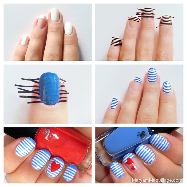 Stripes Nail Design Tutorial on blue bean bag chair