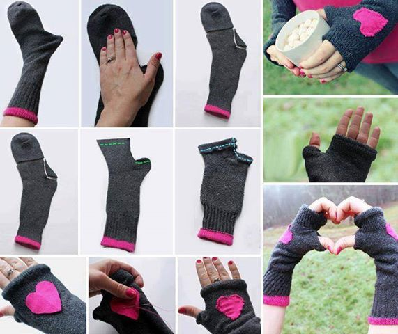 Fingerless Gloves Made from Socks - DIY