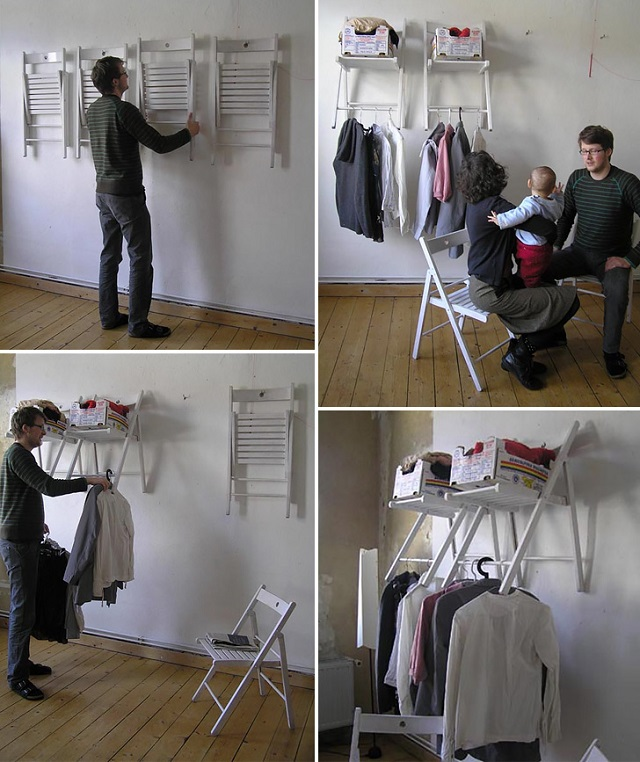 chair on the wall as hanger