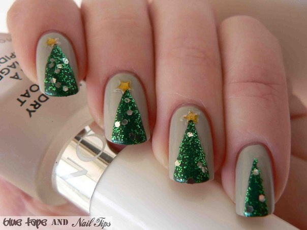 Easy Christmas Tree Nail Art Design - Tutorial - AllDayChic