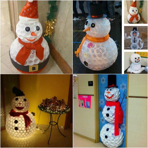 Plastic cups snowman diy alldaychic for Plastic cup snowman