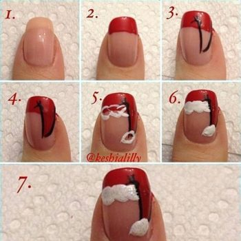 Christmas Hat Nail Art Design – DIY