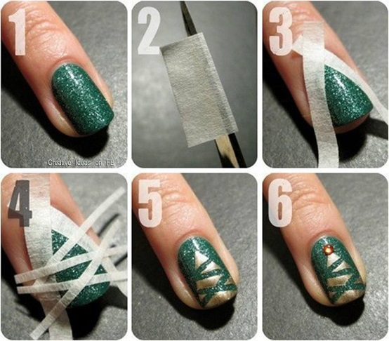 Christmas Tree Nail Art (2)