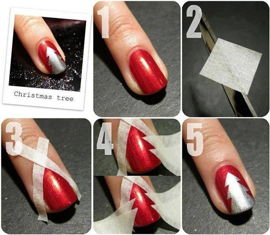 Patterns Using Tape Nail Art: Christmas Nail Art Using Adhesive Tape