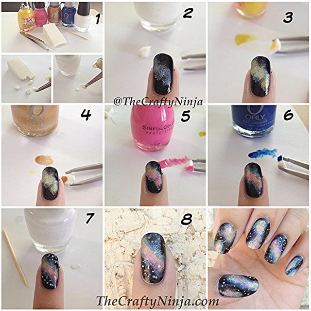 Nail Art Storage Ideas: Galaxy Nail Art Design