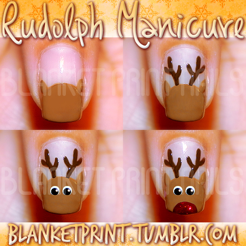 Nail Design Idea for Christmas - Rudolph Manicure