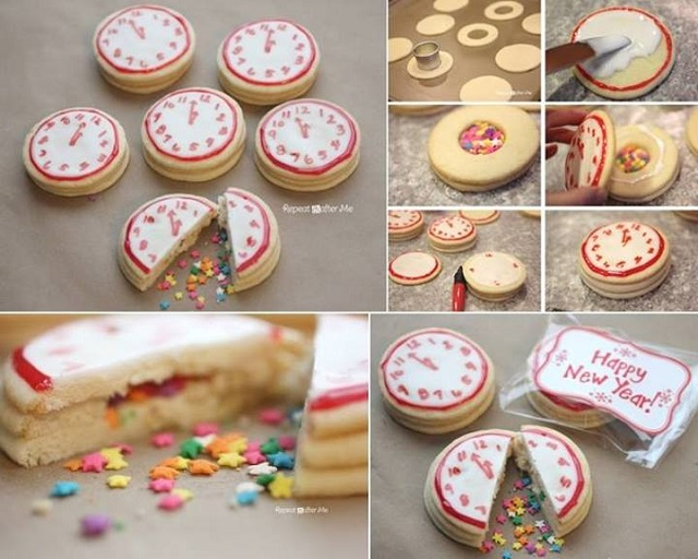 New Years Confetti Clock Cookies -DIY