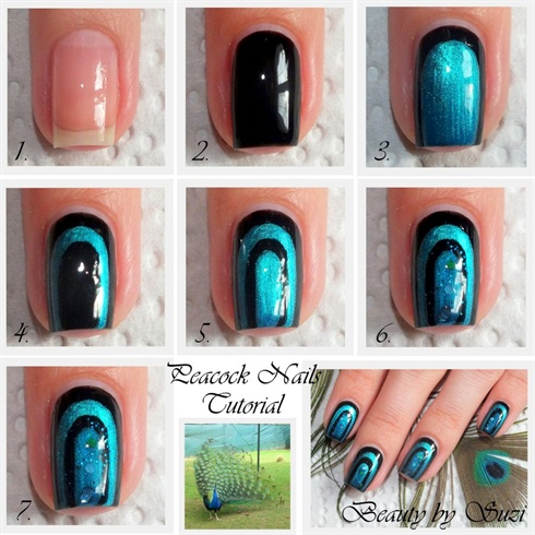Peacock Nail Art Design - Tutorial (2)