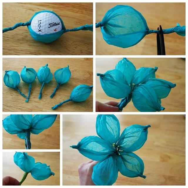 Balloonish looking tissue flower diy alldaychic - Manualidades con papel craft ...